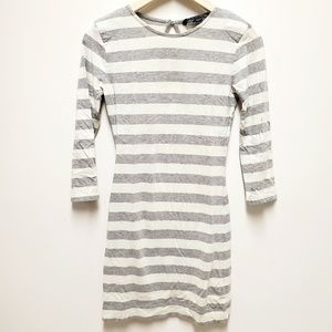French Connection Stripped Grey Tan Dress 4